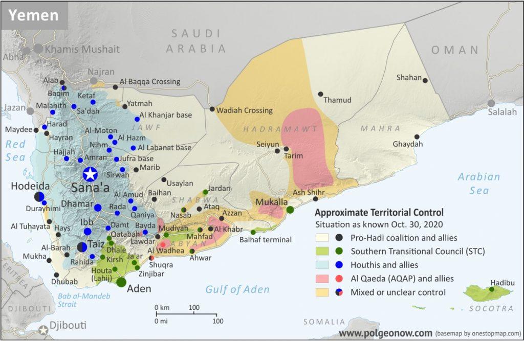 Figura 3. Controllo territoriale da parte delle varie fazioni in Yemen (ottobre 2020). Fonte: Polgeonow
